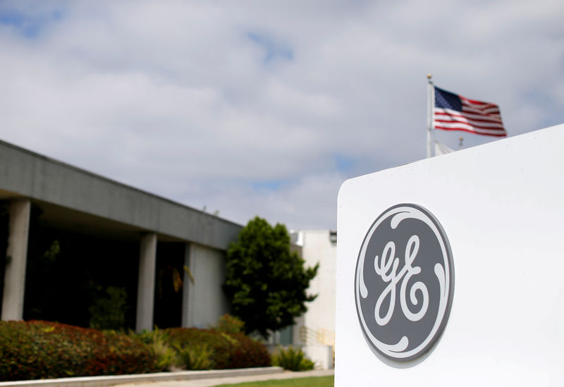 © Reuters. FILE PHOTO: The logo of General Electric at their subsidiary company GE Aviation in Santa Ana
