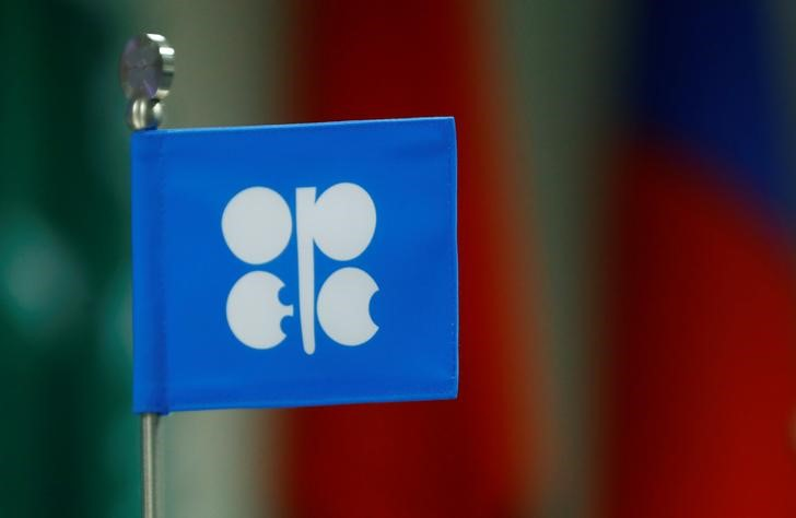 © Reuters. A flag with the Organization of the Petroleum Exporting Countries (OPEC) logo is seen  during a meeting of OPEC and non-OPEC countries in Vienna