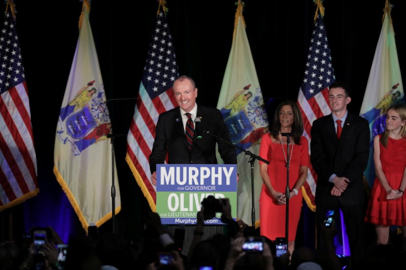 © Reuters. Phil Murphy, Governor-elect of New Jersey, speaks at his election night victory rally in Asbury Park, New Jersey