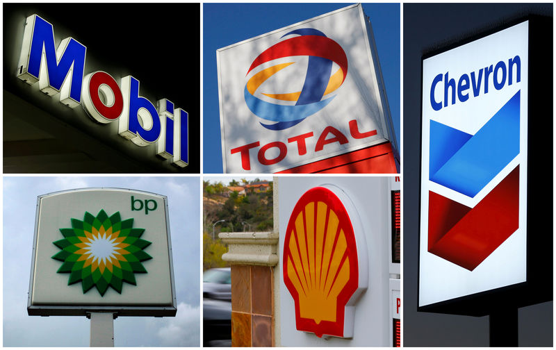 © Reuters. FILE PHOTO - A combination of file photos shows the logos of five of the largest publicly traded oil companies BP, Chevron, Exxon, Mobil Royal Dutch Shell,and Total