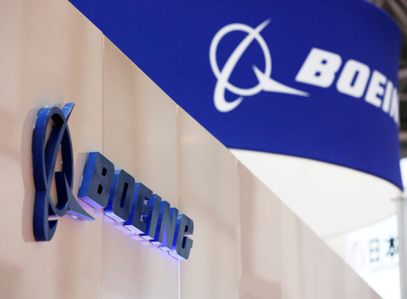 © Reuters. FILE PHOTO: Boeing's logo is seen during Japan Aerospace 2016 air show in Tokyo