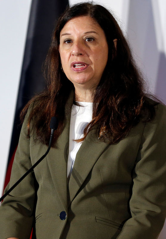 © Reuters. US.. Acting Secretary of the Department of Homeland security Elaine Duke speaks during the news conference at the end of the G7 Interior Ministers meeting at the Ischia island