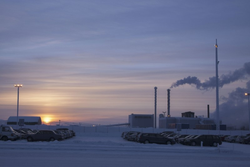 © Reuters. A general view of Talvivaara's nickel mine in Sotkamo