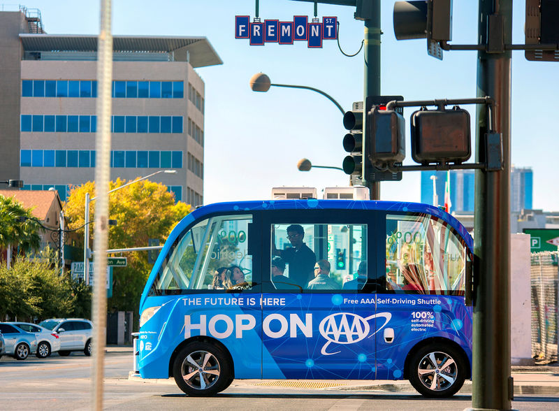 © Reuters. Handout photo of the first public self-driving shuttle, launched as a pilot project sponsored by AAA and Keolis is shown in downtown Las Vegas