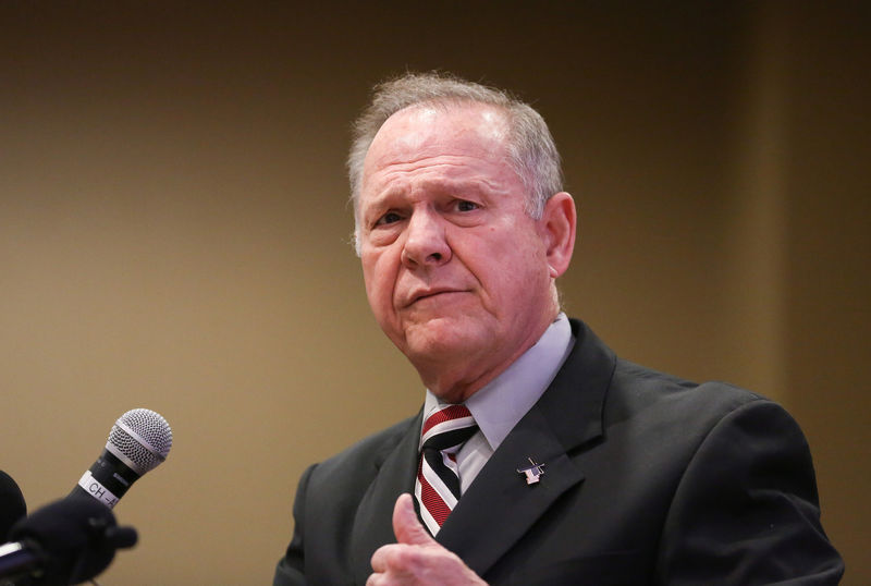 © Reuters. Judge Roy Moore participates in the Mid-Alabama Republican Club's Veterans Day Program in Vestavia Hills