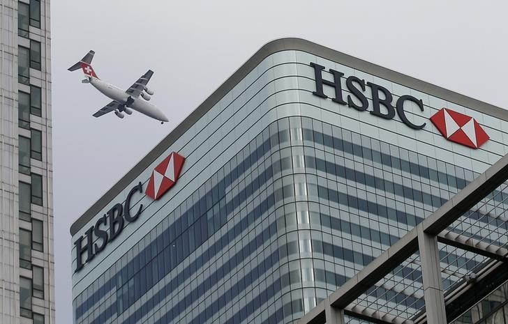 © Reuters. A Swiss International aircraft flies past the HSBC headquarters building in the Canary Wharf financial district in east London