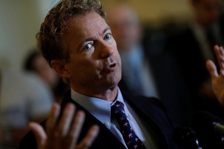 © Reuters. Sen. Rand Paul (R-KY) speaks at a press conference about the latest Republican Effort to repeal and replace the Affordable Care Act on Capitol Hill in Washington
