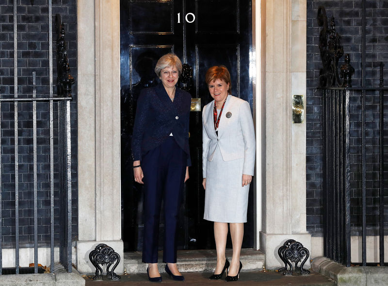 © Reuters. Britain's Prime Minister Theresa May greets Scotland's First Minister Nicola Sturgeon outside 10 Downing Street in London