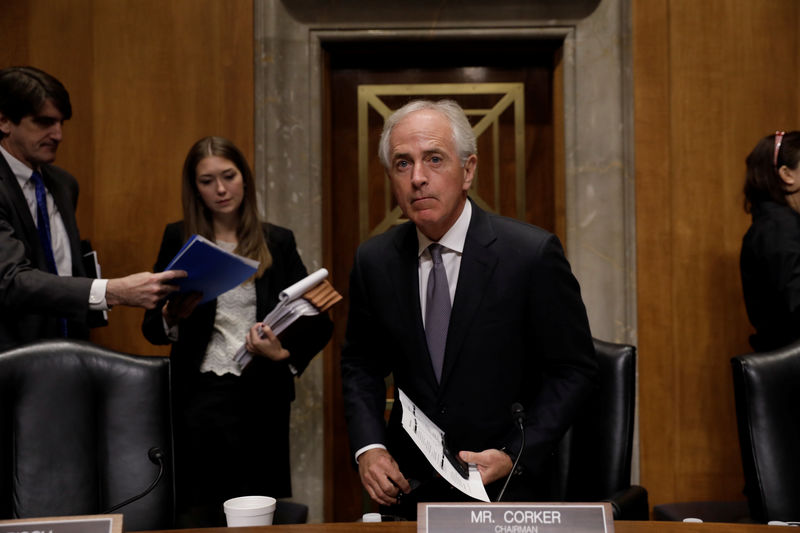 © Reuters. Senate Foreign Relations chairman Corker holds hearing about presidential authority to use nuclear weapons on Capitol Hill in Washington
