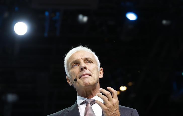 © Reuters. Volkswagen CEO  Mueller attends the opening of the Frankfurt Motor Show