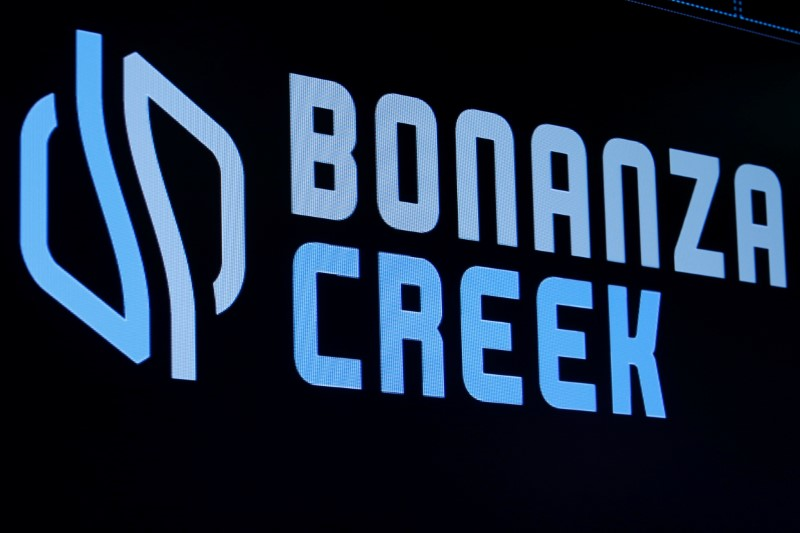 © Reuters. The logo for Bonanza Creek Energy is displayed on a screen on the floor of the NYSE in New York