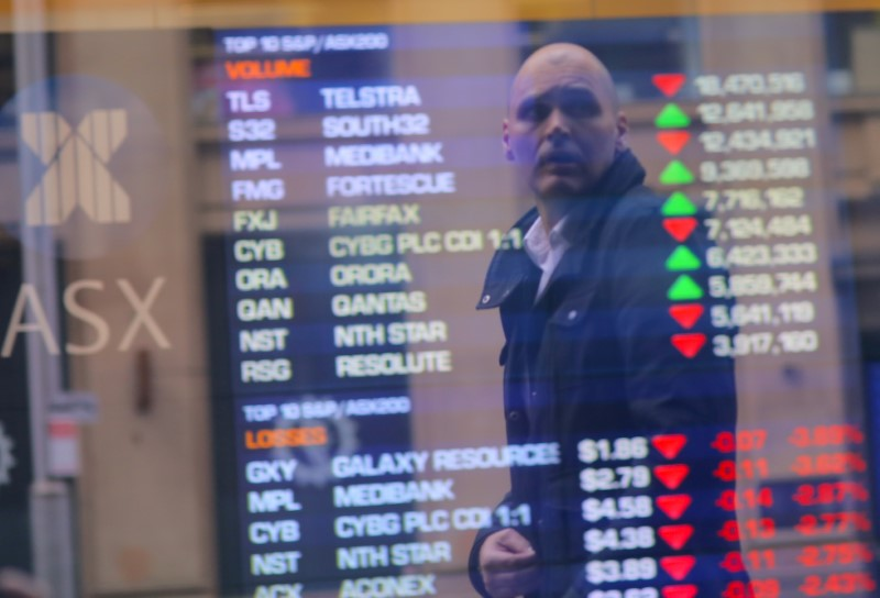 © Reuters. An investor is reflected in a window displaying a board showing stock prices at the Australian Securities Exchange in Sydney
