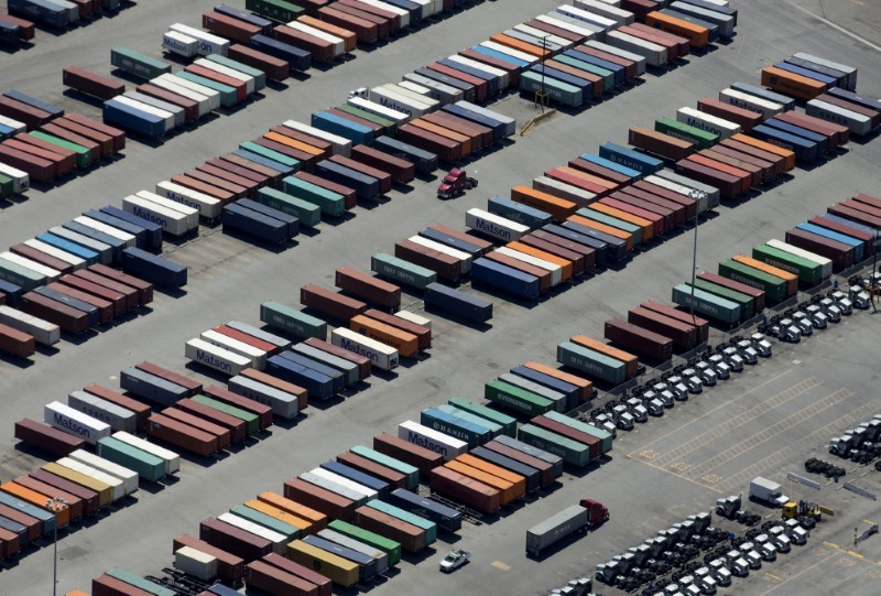 © Reuters. FILE PHOTO: Semi-truck trailers are shown at the Port of Long Beach in this aerial photograph  taken above Long Beach, California