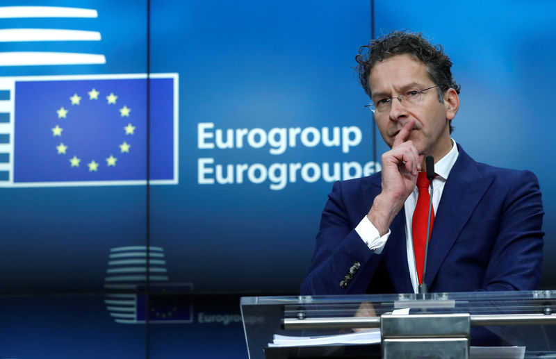 © Reuters. Outgoing Eurogroup President Dijsselbloem holds a news conference at the European Council in Brussels