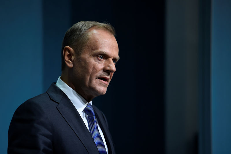 © Reuters. President of the European Council Donald Tusk arrives at a press conference at Government buildings in Dublin