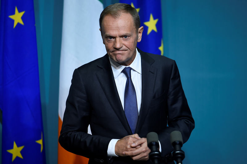 © Reuters. President of the European Council Donald Tusk speaks during a press conference at Government buildings in Dublin