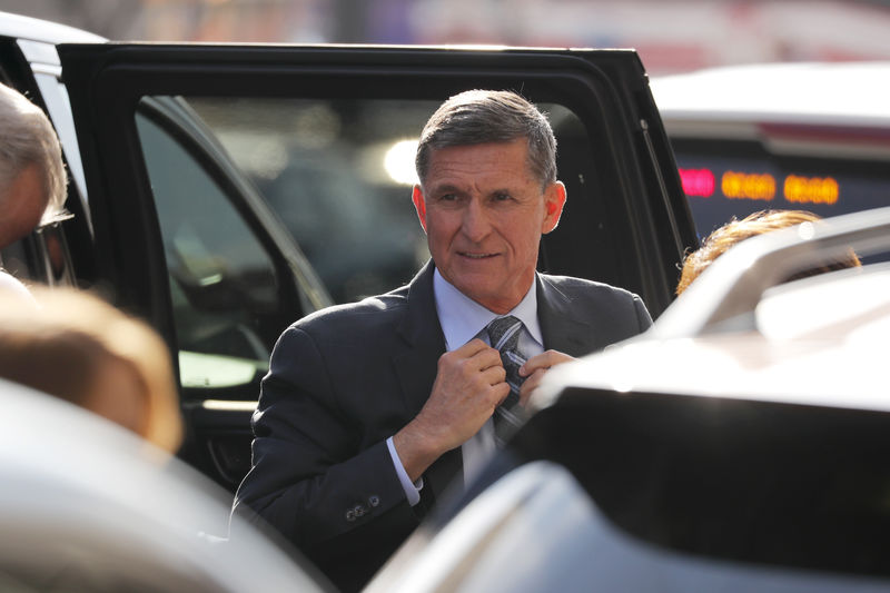 © Reuters. Former U.S. National Security Adviser Michael Flynn arrives for a plea hearing at U.S. District Court in Washington