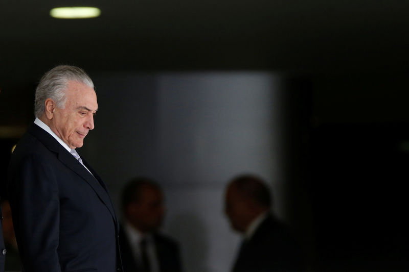 © Reuters. Brazilian President Michel Temer at the Planalto Palace in Brasilia