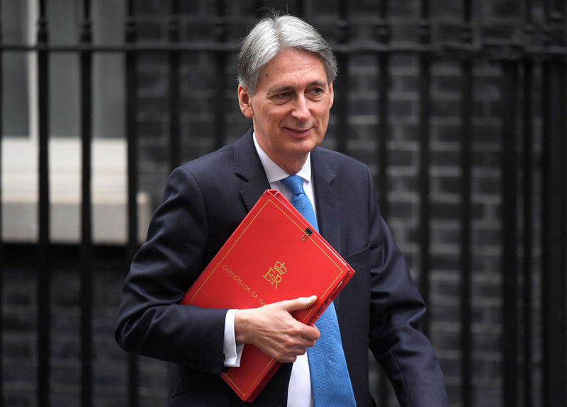 © Reuters. FILE PHOTO - Britain's Chancellor of the Exchequer Philip Hammond leaves Downing Street, London