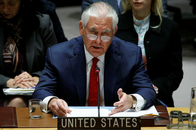 © Reuters. U.S. Secretary of State Rex Tillerson speaks during a United Nations Security Council meeting, to discuss a North Korean missile program, at the United Nations headquarters in New York