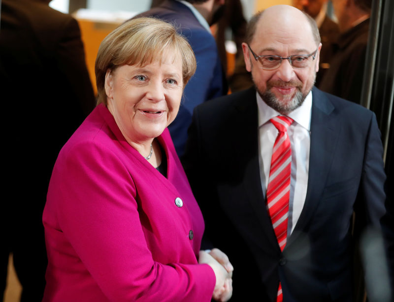 Merkel optimistic at start of government talks with Social Democrats
