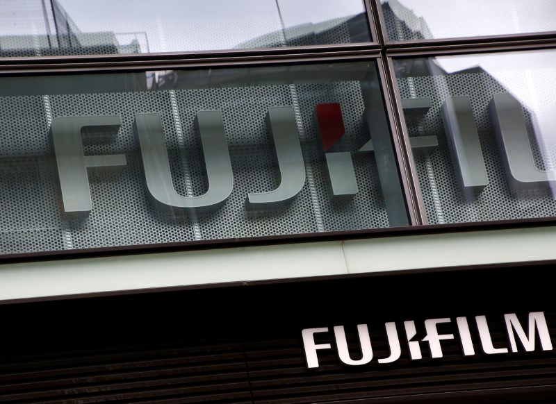 Fujifilms Company Logo Is Seen At Its Exhibition Hall Nearby The Headquarters Of