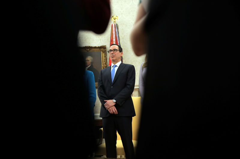 © Reuters. U.S. Treasury Secretary Steven Mnuchin attends a signing ceremony hosted by U.S. President Donald Trump to sign the Interdict Act into law, to provide Customs and Border Protection agents with the latest screening technology on the fight against the opioi