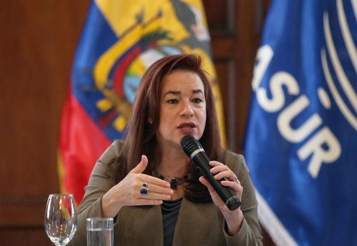 © Reuters. Ministra das Relações Exteriores do Equador, Maria Fernanda Espinosa, dá entrevista à imprensa estrangeira em Quito