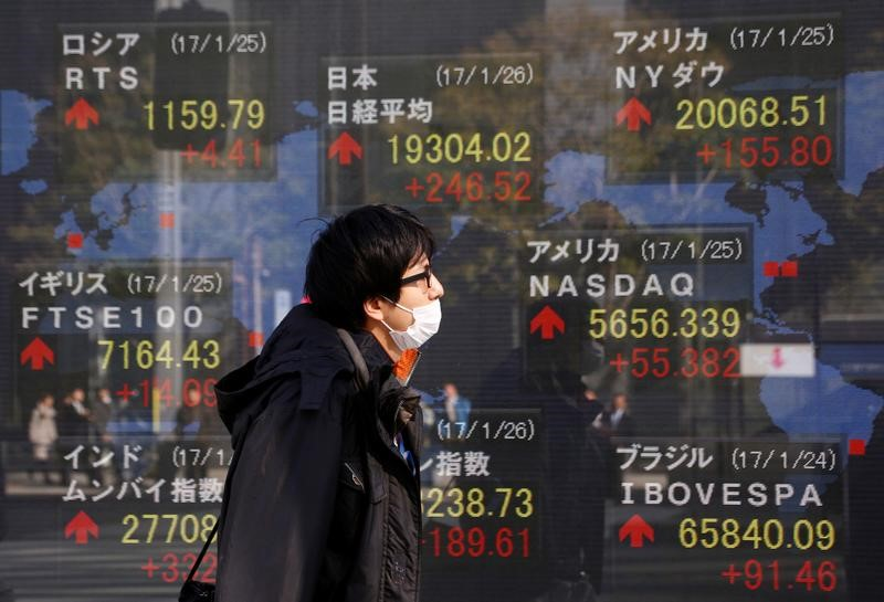 © Reuters. A man walks past an electronic board showing Japan's Nikkei average, the Dow Jones average and the stock averages of other countries' outside a brokerage in Tokyo