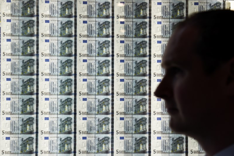 © Reuters. A man is seen in front of a sheet of five Euro notes at the opening of the new Central Bank of Ireland offices in Dublin