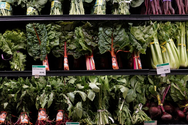 © Reuters. FILE PHOTO: Vegetables for sale are pictured inside a Whole Foods Market in the Manhattan borough of New York City