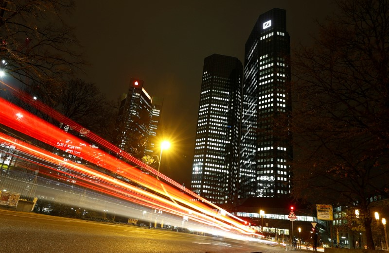 © Reuters. The head quarters of Germany's largest business bank, Deutsche Bank, is photographed in Frankfurt