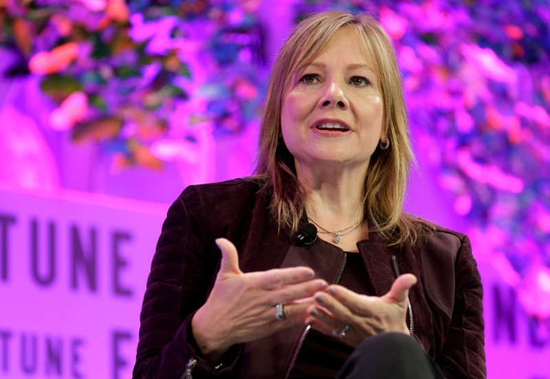 "© Reuters. Mary Barra, chairman and CEO of General Motors, speaks at the 2017 Fortune magazine's ""Most Powerful Women"" summit in Washington"
