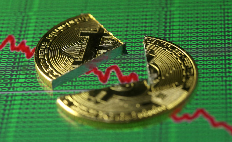© Reuters. FILE PHOTO: Broken representation of the Bitcoin virtual currency, placed on a monitor that displays stock graph and binary codes, are seen in this illustration picture