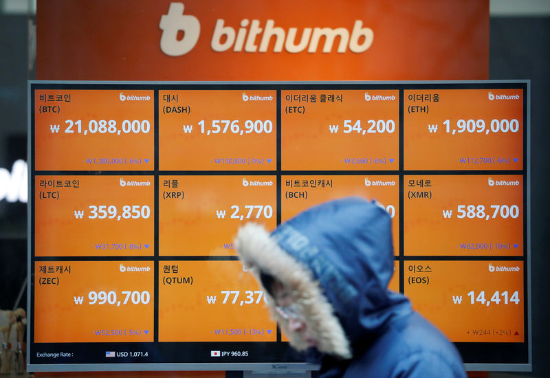 © Reuters. A man walks past an electric board showing exchange rates of various cryptocurrencies at Bithumb cryptocurrencies exchange in Seoul