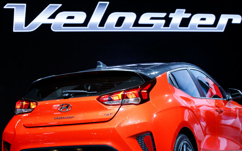 © Reuters. FILE PHOTO: The 2019 Hyundai Veloster is displayed at the North American International Auto Show in Detroit