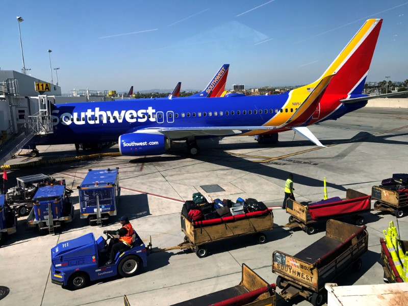 © Reuters. FILE PHOTO: Southwest Airlines plane is seen at LAX in Los Angeles