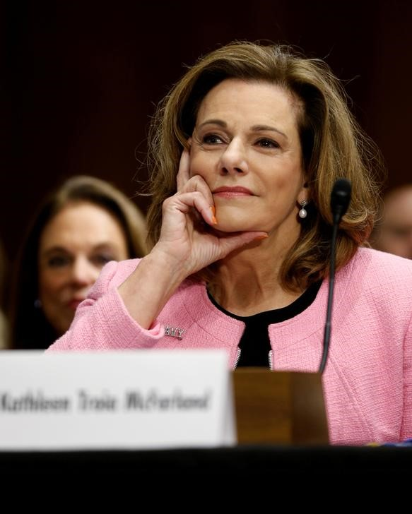 © Reuters. FILE PHOTO - McFarland testifies at the Senate Foreign Relations Committee hearing on her nomination on Capitol Hill in Washington