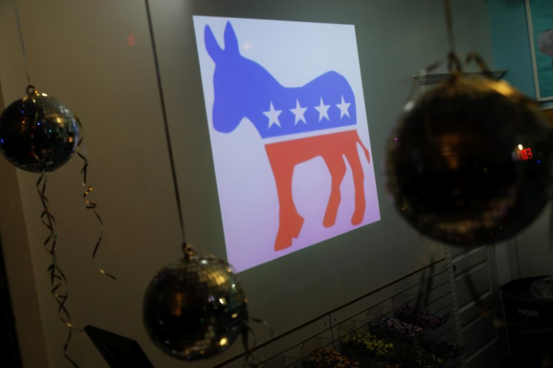 © Reuters. A Democratic Party donkey icon is seen in a candy shop near the watch party for New Jersey gubernatorial candidate Phil Murphy in Asbury Park, New Jersey