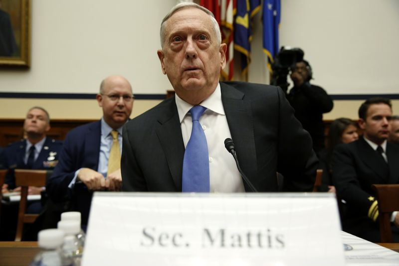 © Reuters. U.S. Defense Secretary Mattis testifies before House Armed Services Committee hearing on Capitol Hill in Washington