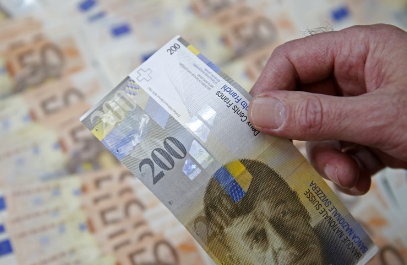 © Reuters. A picture illustration of Swiss Franc and Euro banknotes taken in central Bosnian town of Zenica