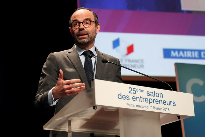 © Reuters. FILE PHOTO - French Prime Minister Edouard Philippe delivers his speech at the Young entrepreneurs fair in Paris, France