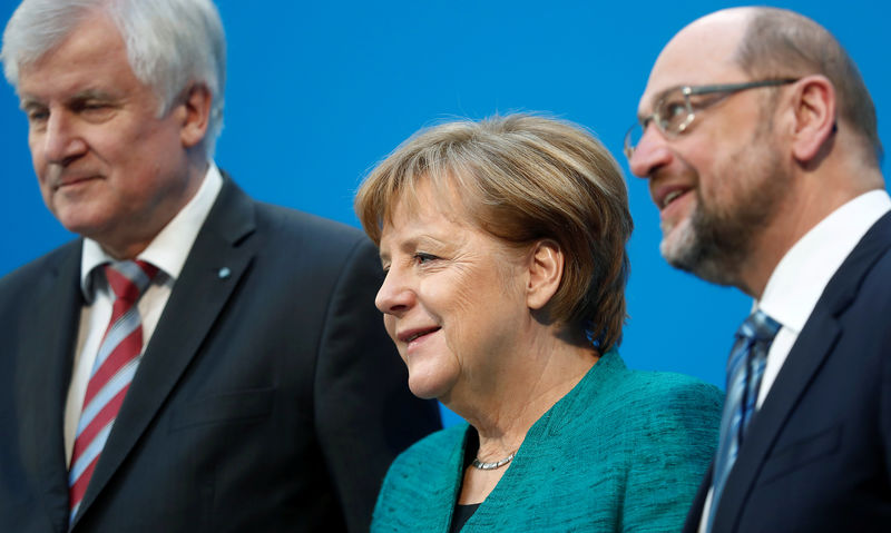 © Reuters. Coalition talks of CDU/CSU and SPD in Berlin