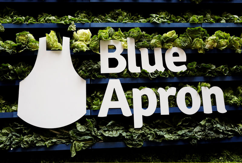 © Reuters. FILE PHOTO: The Blue Apron logo is pictured ahead of the company's IPO on the New York Stock Exchange in New York,