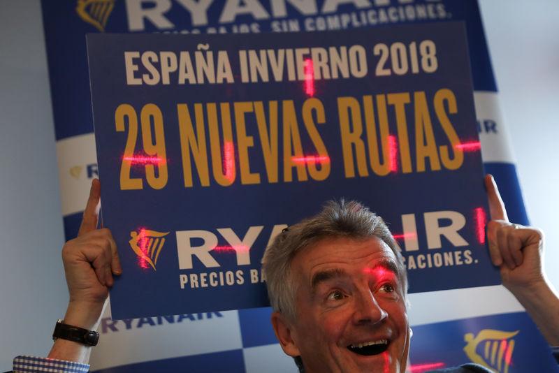 © Reuters. Ryanair prevé seguir creciendo en España tras bajar precios por crisis catalana