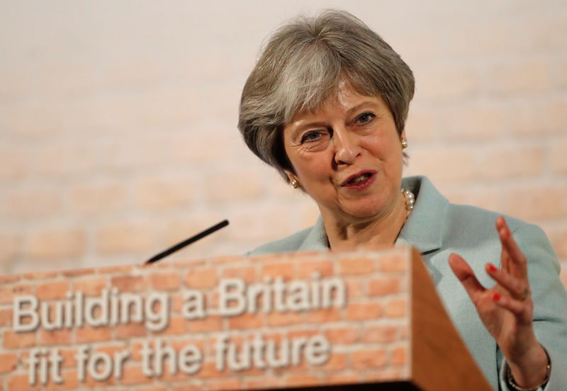 © Reuters. Britain's Prime Minister Theresa May makes a speech London
