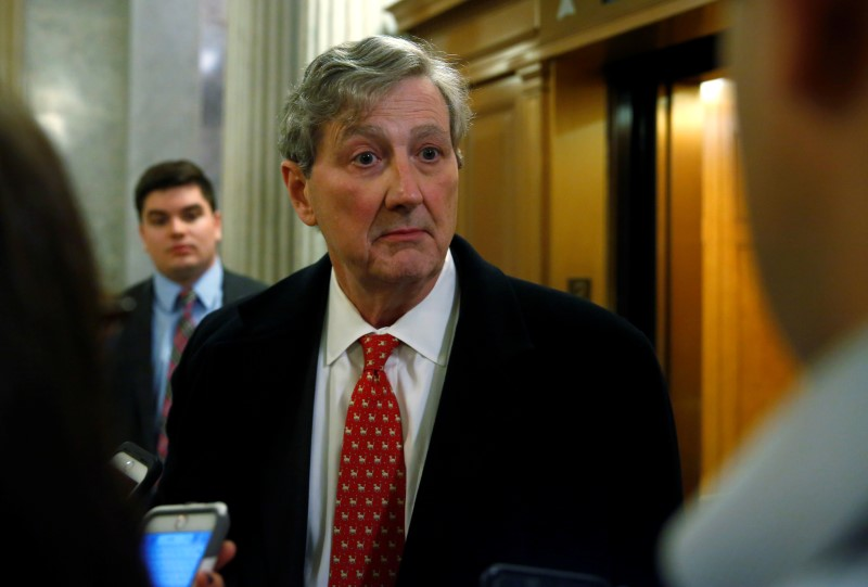 © Reuters. Senator John Kennedy (R-LA) speaks to reporters after a vote to end a government shutdown on Capitol Hill in Washington
