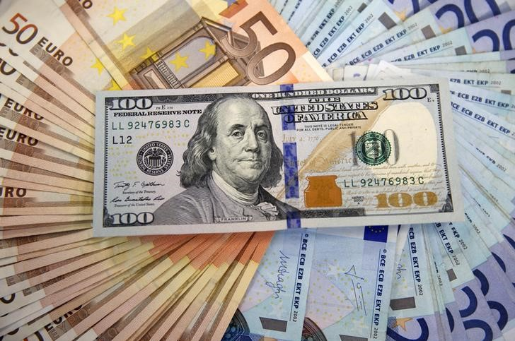 © Reuters. Банкноты по $100, 20 и 50 евро