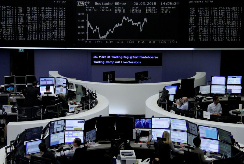 © Reuters. FILE PHOTO: The German share price index, DAX board, is seen at the stock exchange in Frankfurt