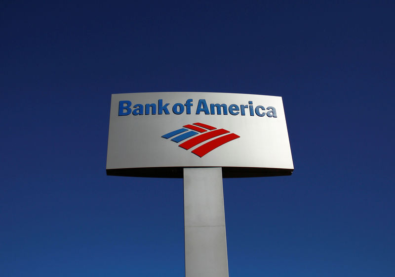 © Reuters. FILE PHOTO: A Bank of America sign is displayed outside a branch in Tucson, Arizona